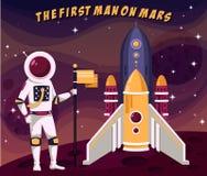 De eerste astronautenmens in spacesuit die vlag plaatsen brengt in de war stock illustratie