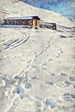 Is de eerste controlepost van de Khardungpas een hoge gevestigde bergpas stock afbeelding