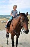 De eerste keer op het paard Royalty-vrije Stock Foto