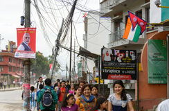 De eerste minister Narendra Modi komt in Katmandu aan Royalty-vrije Stock Foto