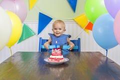 De eerste verjaardag van de baby stock afbeelding