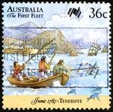 De eerste Vloot Australische Postzegel royalty-vrije stock foto