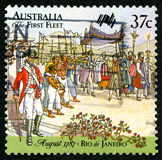 De eerste Vloot Australische Postzegel royalty-vrije stock afbeelding