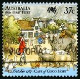 De eerste Vloot Australische Postzegel stock foto's