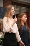 De eerste vraag 1 september, Kennisdag in Russische school Dag van kennis Eerste Dag van School Stock Foto's