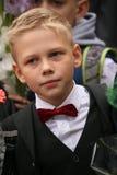 De eerste vraag 1 september, Kennisdag in Russische school Dag van kennis Eerste Dag van School Stock Fotografie
