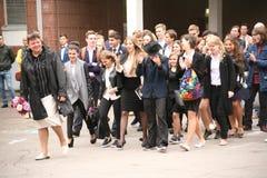 De eerste vraag 1 september, Kennisdag in Russische school Dag van kennis Eerste Dag van School Royalty-vrije Stock Foto's