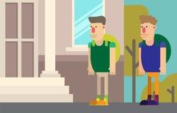 De eerstejaarsstudenten gaan voor het eerst naar Universiteit in de te bestuderen herfst stock illustratie