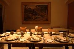 De eetkamer van het Paleis van Falaknuma, Hyderabad Royalty-vrije Stock Foto's