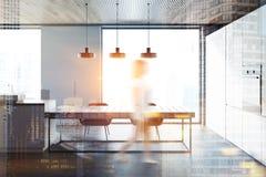 De eetkameronduidelijk beeld van de zijaanzicht grijs panoramisch keuken Stock Fotografie