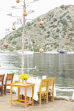 De eettafel van het vissenrestaurant Royalty-vrije Stock Foto's
