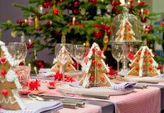 De eettafel van Kerstmis Stock Foto's