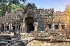 De Eeuw van tempelpreah Khan ruins12th in Angkor Wat, Siem oogst, Kambodja Stock Afbeelding
