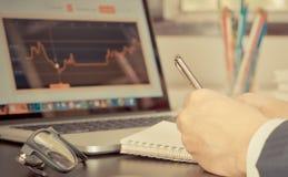 De Effectenbeursmakelaar neemt nota bij de Voorraadanalyse Stock Afbeeldingen
