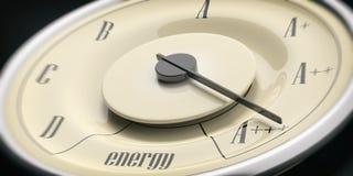 De efficiencyconcept van de energie Uitstekend de close-updetail van de automaat, zwarte achtergrond 3D Illustratie Royalty-vrije Stock Foto's