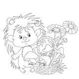 De egel van Nice met een mand Een beeldverhaalkarakter is een egel met paddestoelen en bloemen Vector voor het kleuren van boek Stock Foto's