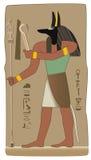 De Egyptische God van Anubis in vector met Egyptisch symbool Stock Illustratie
