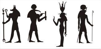 De Egyptische goden silhouetteren Royalty-vrije Stock Fotografie