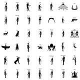 De Egyptische goden silhouetteren reeks stock illustratie