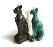 De Egyptische katten van de steen Stock Foto's