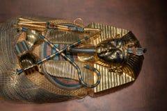 De Egyptische sarcofaag van de faraobegrafenis op de vertoning stock afbeelding