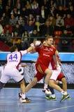 2015/16 de EHF patrocina o motor do jogo do handball do último 16 da liga contra Vesz Foto de Stock