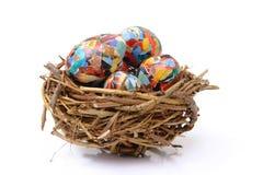 De eieren van de collage in nest Royalty-vrije Stock Afbeelding