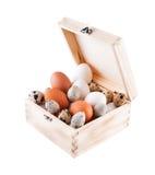 De eieren van de kip en van kwartels in een houten doos Royalty-vrije Stock Foto's