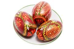 De eieren van de kleur op plaat Stock Foto's
