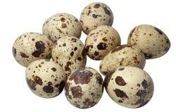 De eieren van kwartels die op wit worden geïsoleerda Stock Foto