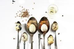 De eieren van kwartels, indrukwekkende lepels stock afbeelding
