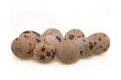 De eieren van kwartels op wit Stock Afbeelding