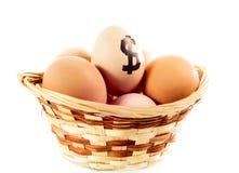 De eieren van Nice in mand met dollarteken Stock Foto's