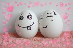 De eieren zijn vrolijk met een gezichtsconcept het leven ziel Royalty-vrije Stock Foto