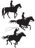 De eigenaar van een ranchsilhouetten van de cowboy stock illustratie