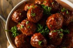 De eigengemaakte Ballen van het Barbecuevlees stock afbeeldingen