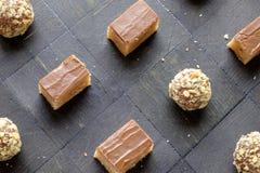 De eigengemaakte bovenkant van het de snoepjeslandschap van de kubuschocolade Stock Foto