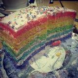 De eigengemaakte cake van de litchiregenboog Stock Foto's