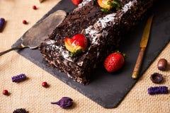De eigengemaakte cake van de Kerstmischocolade Royalty-vrije Stock Fotografie