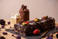 De eigengemaakte cake van de Kerstmischocolade Stock Afbeelding