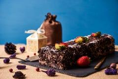 De eigengemaakte cake van de Kerstmischocolade Royalty-vrije Stock Afbeeldingen