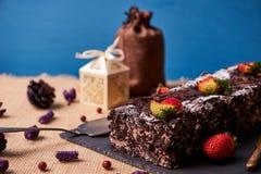 De eigengemaakte cake van de Kerstmischocolade Royalty-vrije Stock Afbeelding
