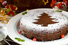 De eigengemaakte die cake van chocoladekerstmis met suikerpoeder wordt bestrooid Stock Foto