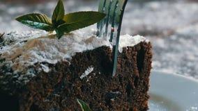 De eigengemaakte gebakken die cake van de chocoladebrownie met gepoederde suiker op een witte die plaat wordt gedempt met munt wo stock footage