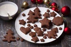 De eigengemaakte Kerstmischocolade kruidde koekjes met suikersuikerglazuur voor decoratie op een houten lijst royalty-vrije stock afbeelding