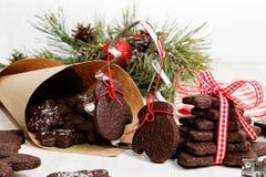 De eigengemaakte koekjes van de Kerstmischocolade Royalty-vrije Stock Afbeelding