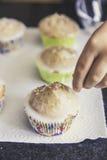 De eigengemaakte muffins met gekleurd verfrommelt Royalty-vrije Stock Afbeeldingen
