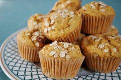 De eigengemaakte muffins van het pompoenhavermeel royalty-vrije stock afbeeldingen