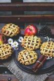 De eigengemaakte organische pastei, de kaneel stciks en de appelen van de appelhand stock afbeeldingen