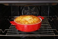 De eigengemaakte pastei met appelen is gekookt in de oven Stock Fotografie